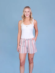 Multistriped Coral Midi Shorts for Tall Women Front Length View