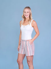Multistriped Coral Midi Shorts for Tall Women Side View