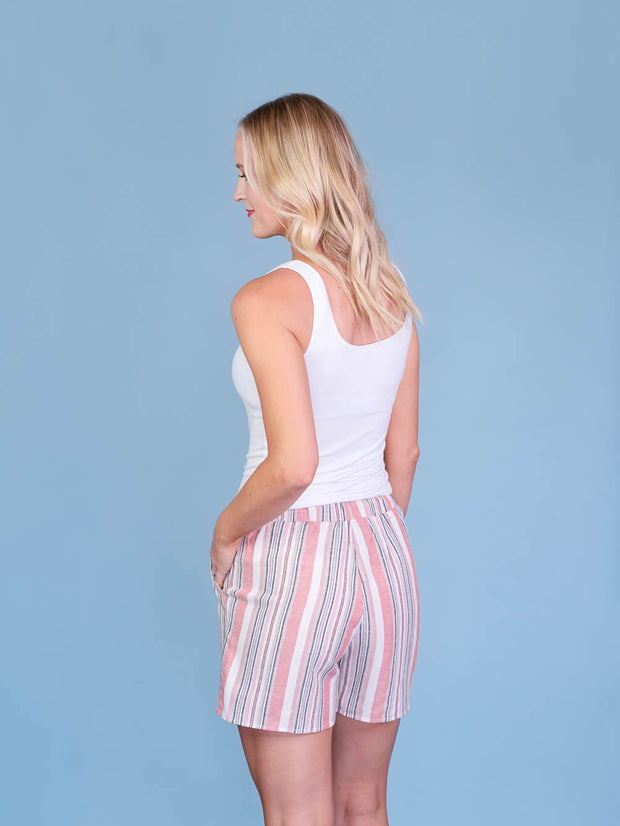 Multistriped Coral Midi Shorts for Tall Women Back View