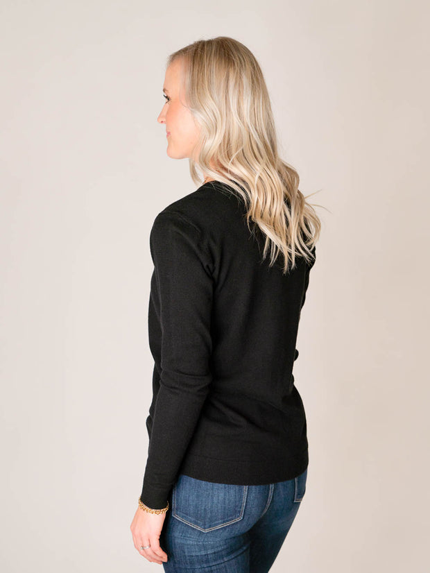 Tall V-neck sweater in black for women