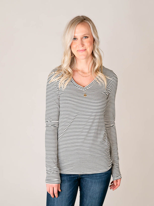 Tall Striped V-neck tee shirt for women