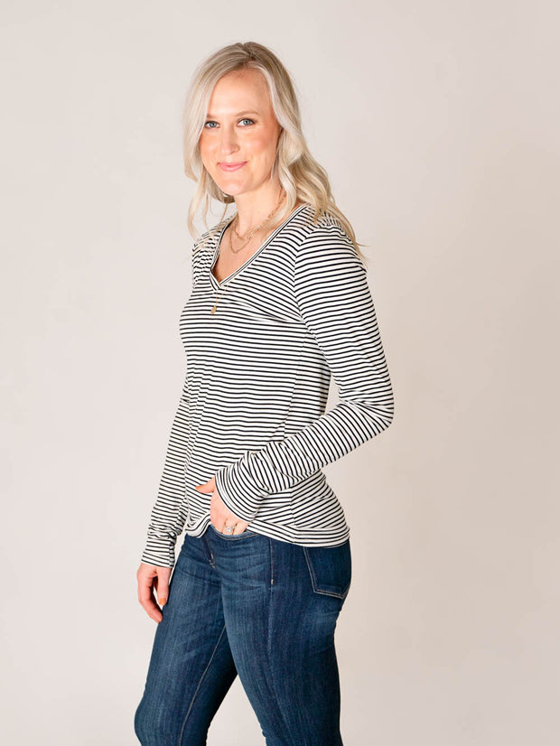 Tall Striped V-neck tee shirt for women side shot