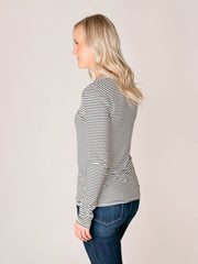 Tall Striped V-neck tee shirt for women back view