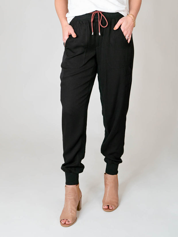 "Extra Long Tencel Joggers for Tall Women 36"" Inseam"