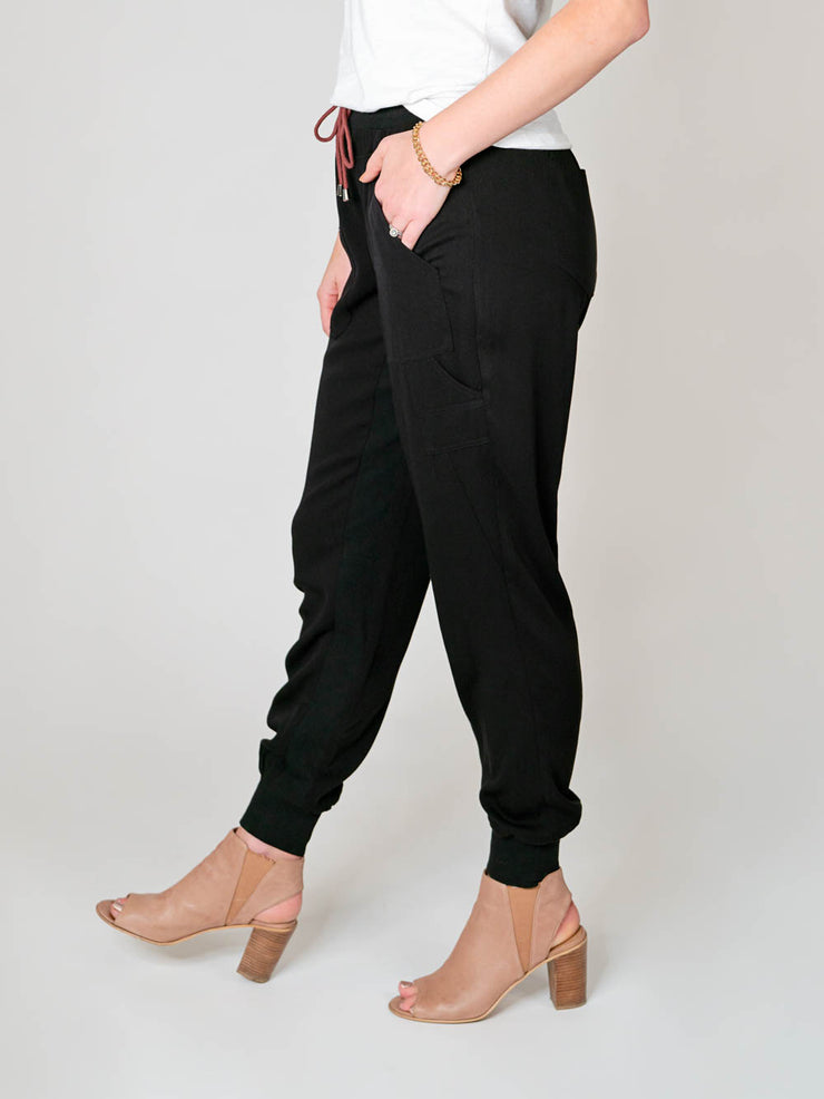 Extra Long Tencel Joggers for Tall Women in black