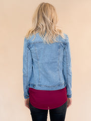 Hollis Tall Jean Jacket in Light Medium Wash.  Tall jean jacket womens