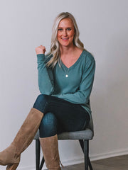 V-Neck Tall Sweater - Seafoam Green