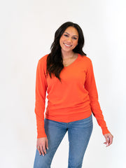 v-neck sweater for tall women orange