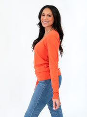 v-neck sweater for tall women orange extra long sleeves