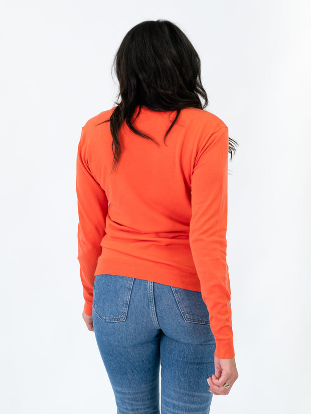 v-neck sweater for tall women orange back view