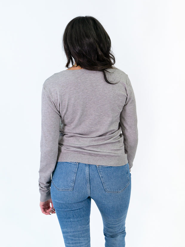 v-neck sweater for tall women grey