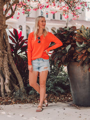 orange tall v-neck sweater