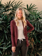 Ribbed Long Sleeve Tall Cardigan - Mahogany