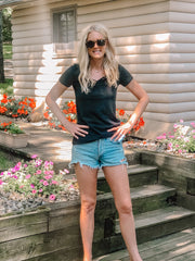 heathered black v-neck t-shirt for tall girls