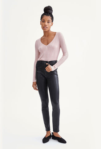 7 for all Mankind - Coated High Waist Skinny with Faux Pocket