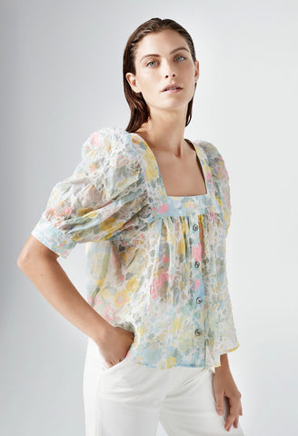 Smythe - Button Front Square Neck Blouse