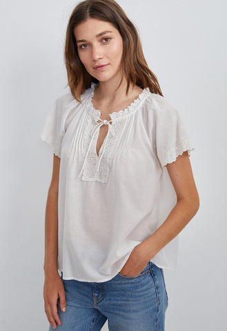 Velvet by Graham & Spencer - Noely Eyelet Embroidered Short Sleeve Top