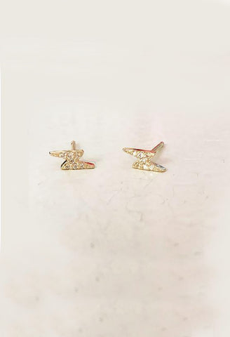 The Right Hand Gal - Solid Gold Lightning Bolt Studs