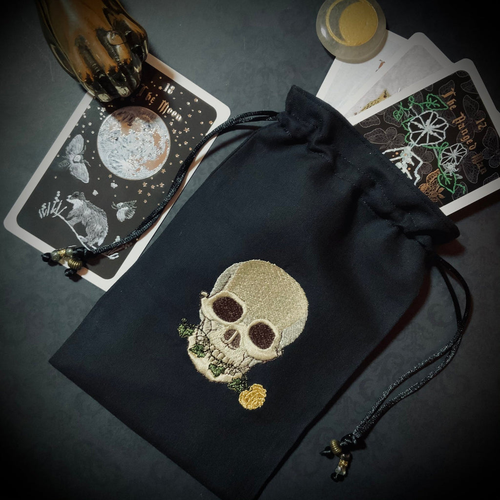 Embroidered Flora Skull Black Pouch