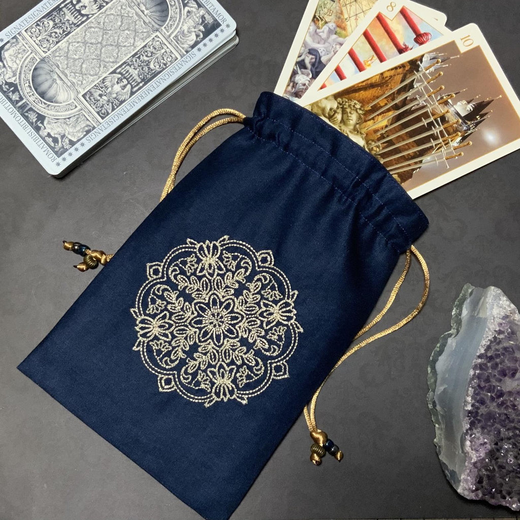 Embroidered Pale Gold Mandala Pouch
