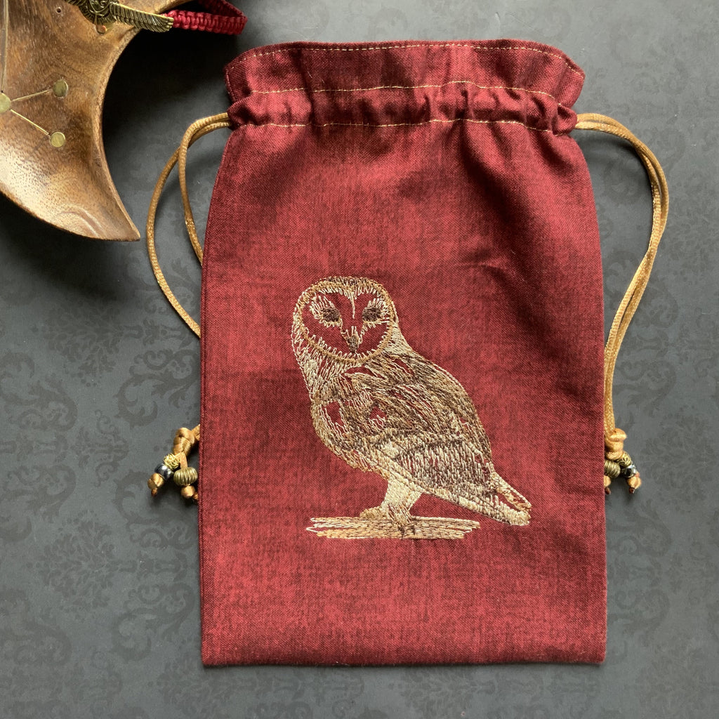 Embroidered Barn Owl ~ Red