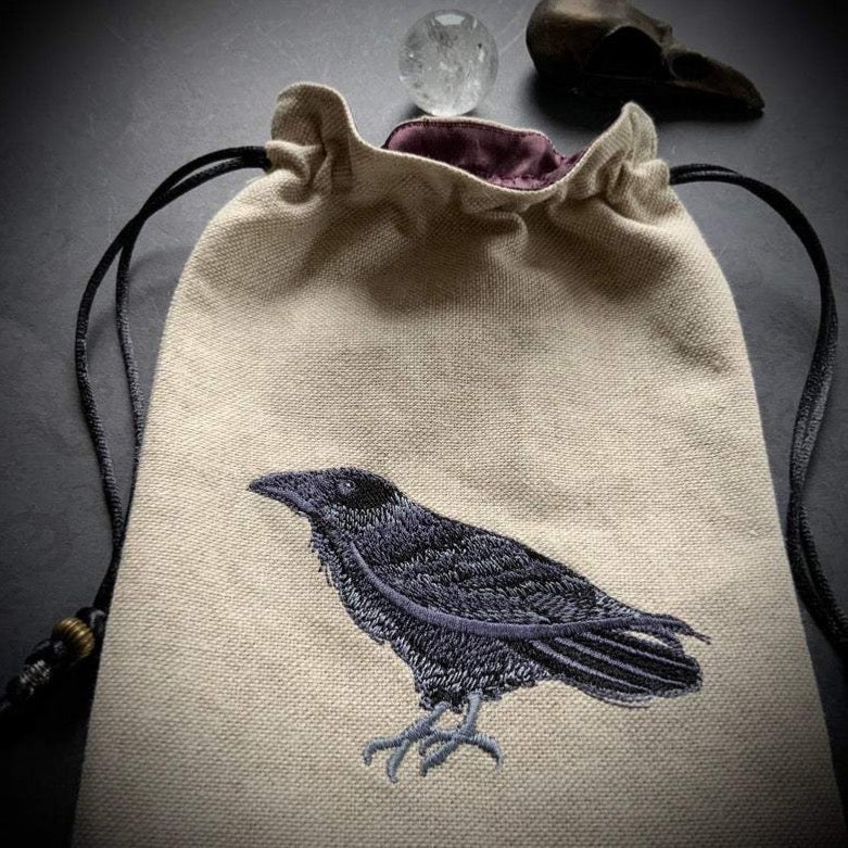 Embroidered Raven Pouch