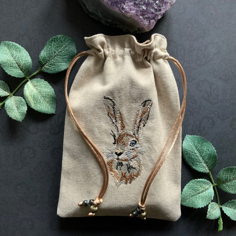 Embroidered Hare Pouch