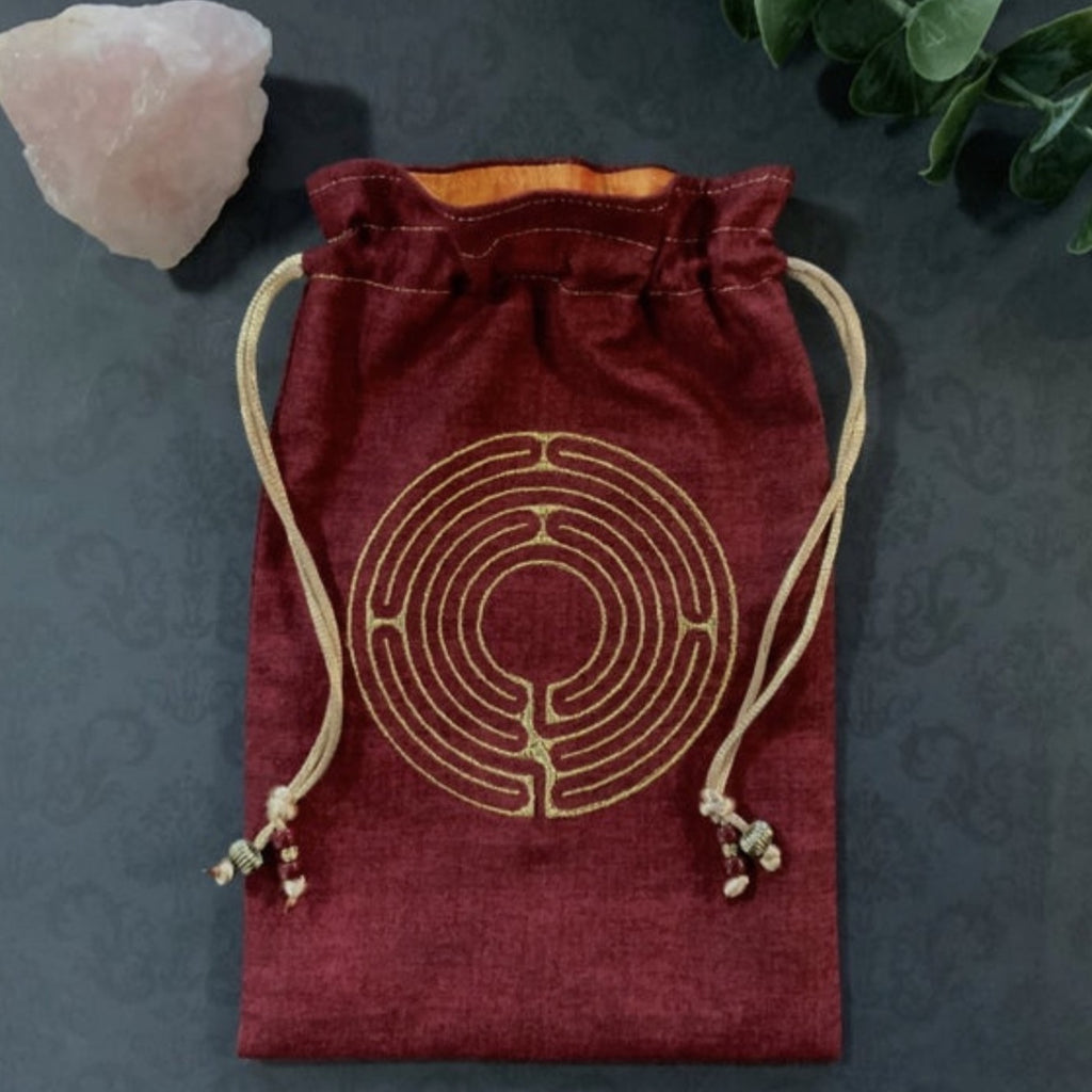 Embroidered Gold Labyrinth Pouch