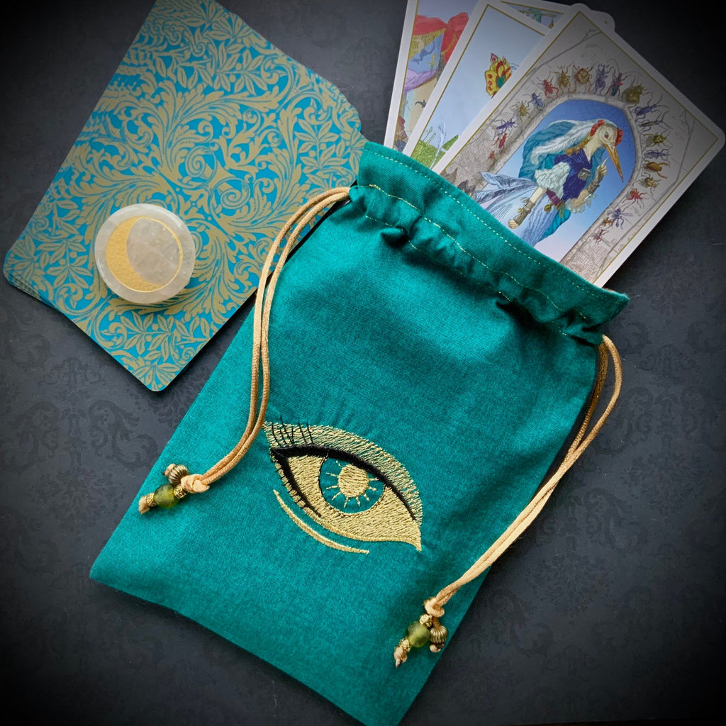 Embroidered Gold Eye Pouch