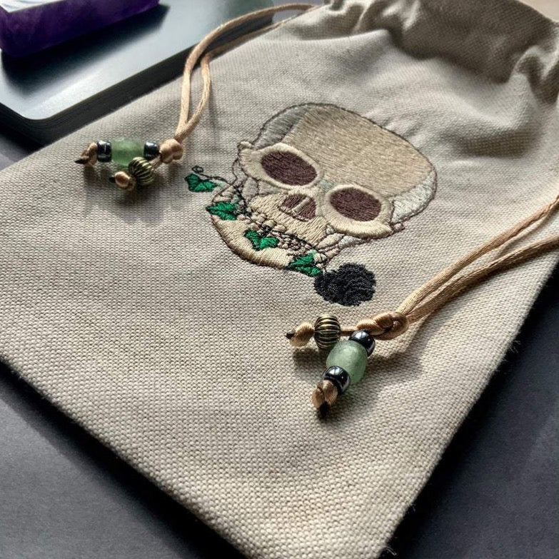 Embroidered Skull Pouch