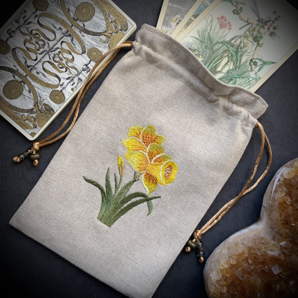 Embroidered Daffodil Pouch