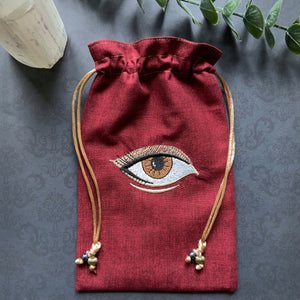 Embroidered Red & Gold Eye Pouch