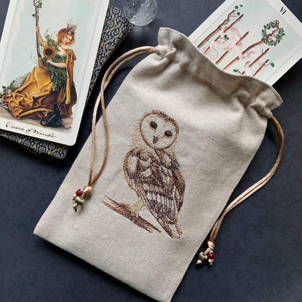 Embroidered Barn Owl ~ Natural