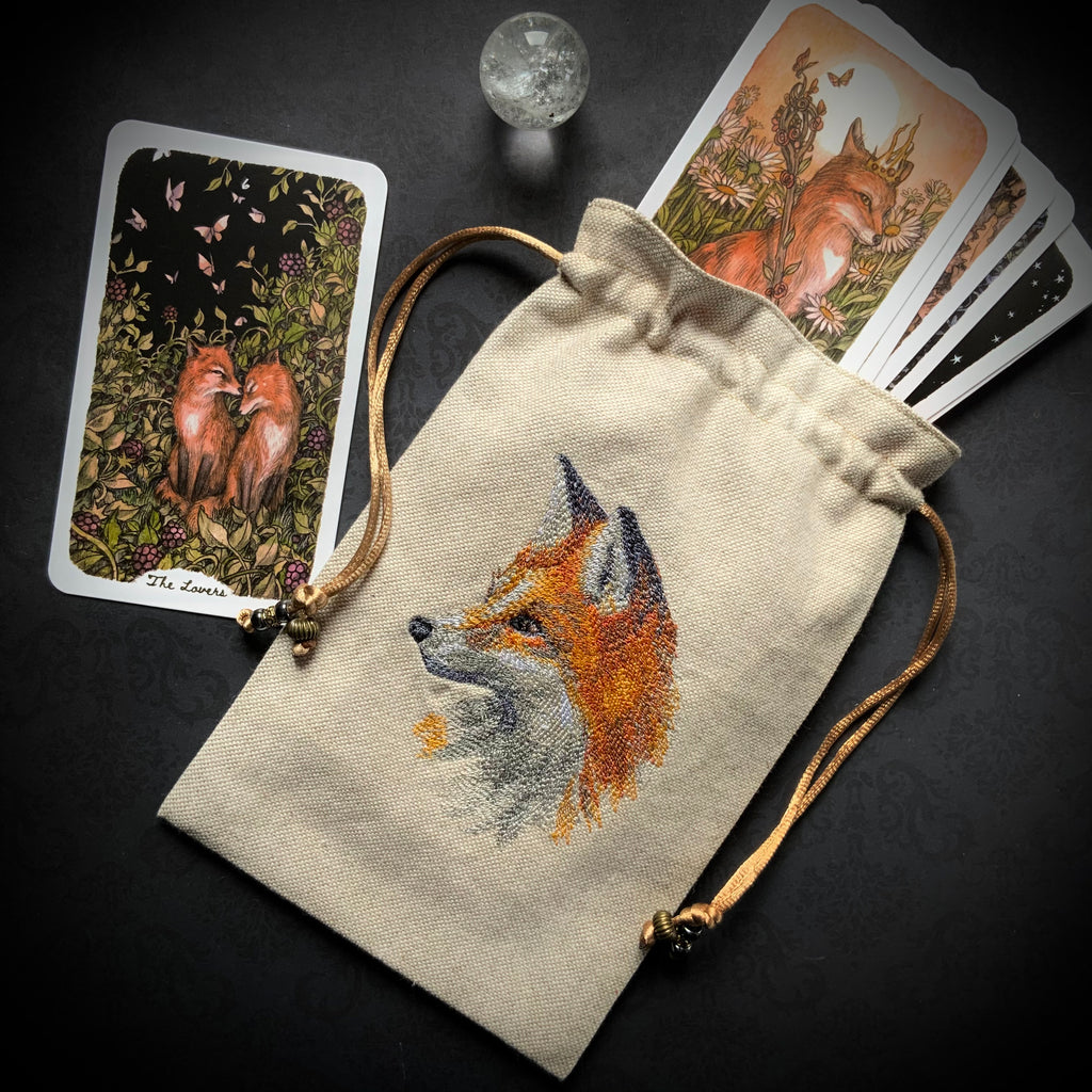 Embroidered Fox Pouch