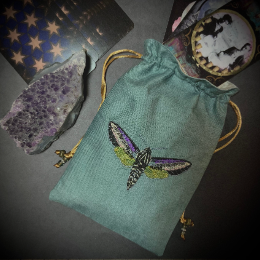 Embroidered Hawkmoth Pouch