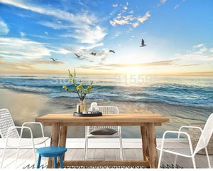 3D Wallpaper Seagull Blue Sky White Clouds SKU# WAL0214