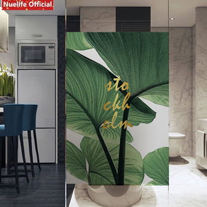 Window Frosted Green Plant Leaf Film SKU# MOS0022