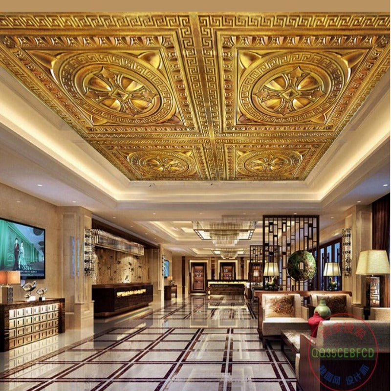 3D Gold Artisan Ceiling/Floor Paper Embossed SKU# WAL0251