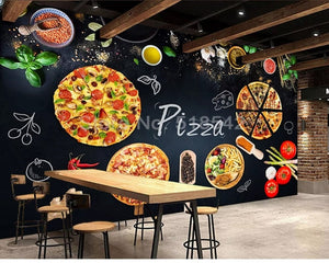 3D Wallpaper Pizza Shop Restaurant SKU#WAL0154