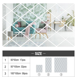 Wall Mirror Diamond Sky Tile Self-Adhesive SKU# MOS0012