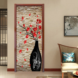 3D Wallpaper Chinese Embossed Vase Flowers SKU# WAL0179