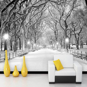 3D Wallpaper White Snowy Road Trees SKU# WAL0170