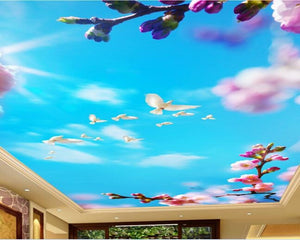 3D Ceiling Paper Blue Skyview Dove SKU# WAL0219
