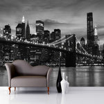 3D-HD Wallpaper Brooklyn Black and White Waterproof & Mildew Proof SKU# WAL0080