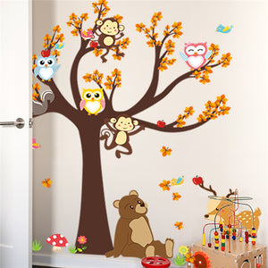 Jungle Forest Tree Animal Owl Wall Stickers Waterproof SKU# WAL0128