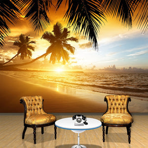 3D Wallpaper Sunset Glow Coconut Sea SKU# WAL0276