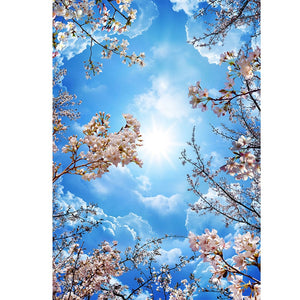3D Ceiling Paper Blue Sky White Clouds Mural SKU# WAL0172