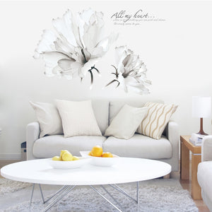 Creative White Flower Bedside Wall Stickers, European SKU# WAL0004
