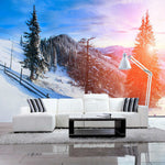 3D-HD Wallpaper Snowy Sunset Background Waterproof & Mildew Proof SKU# WAL0120