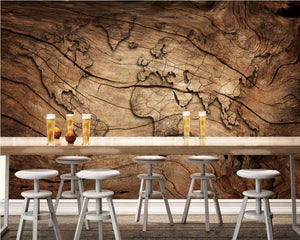 3D Wallpaper Wood Grain World Map SKU# WAL0061